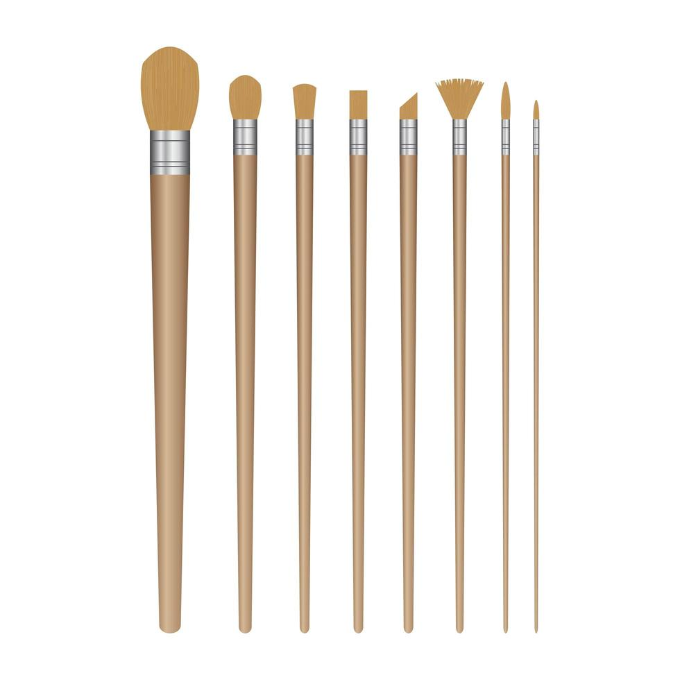 Paint Brush Set on White vector