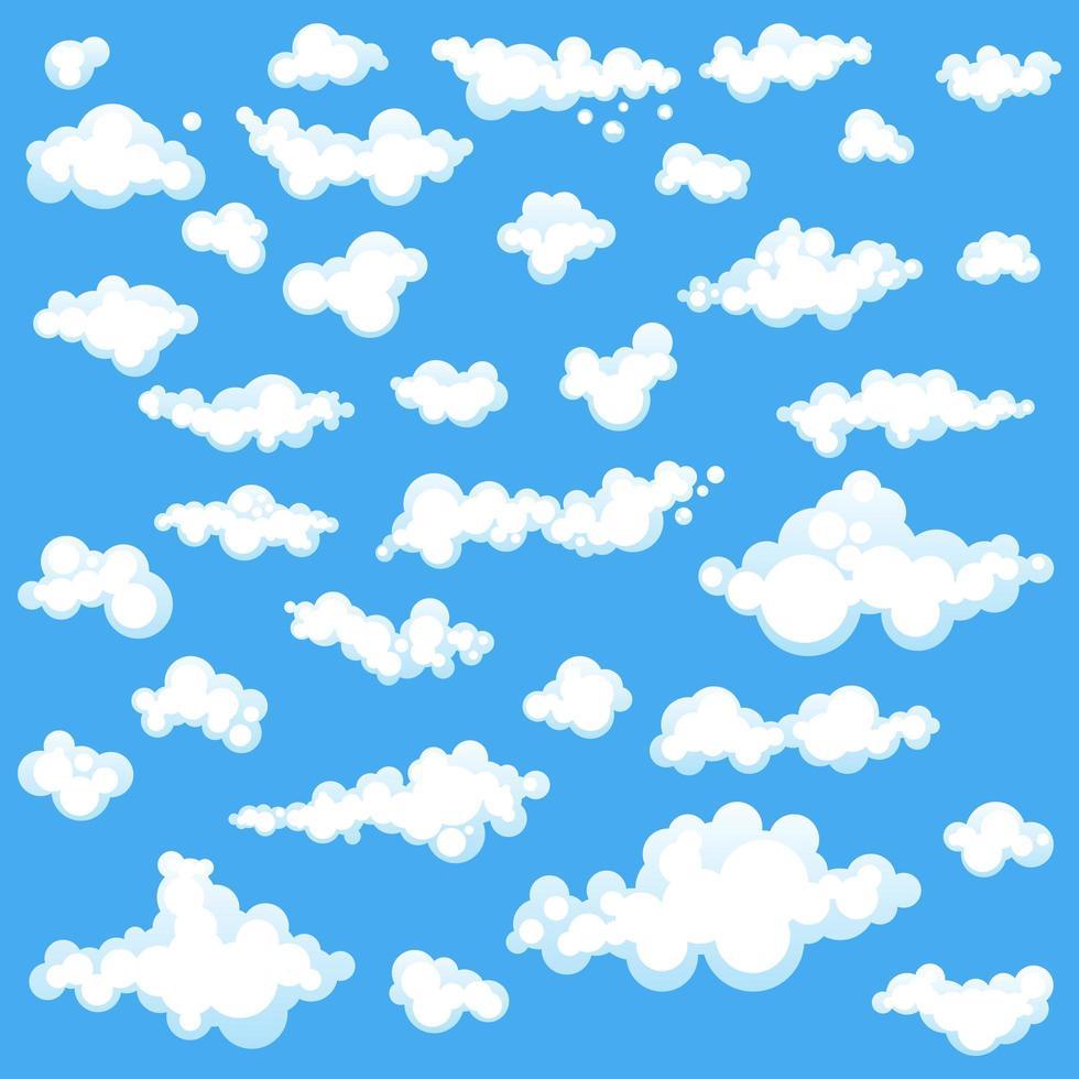ensemble de nuages blancs sur bleu vecteur