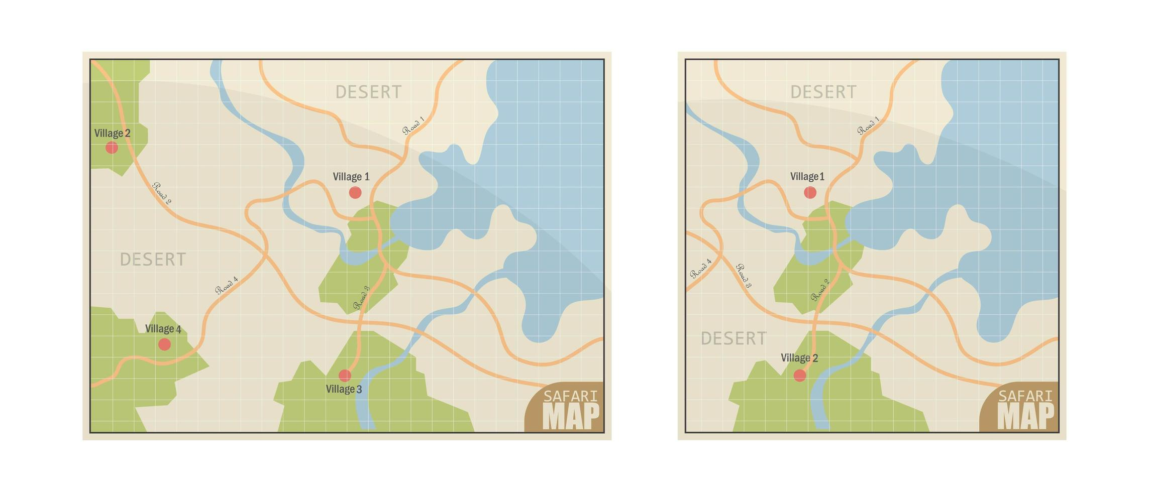Safari Map on White vector