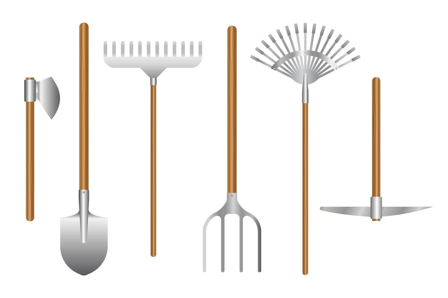 herramientas de jardinería en blanco vector