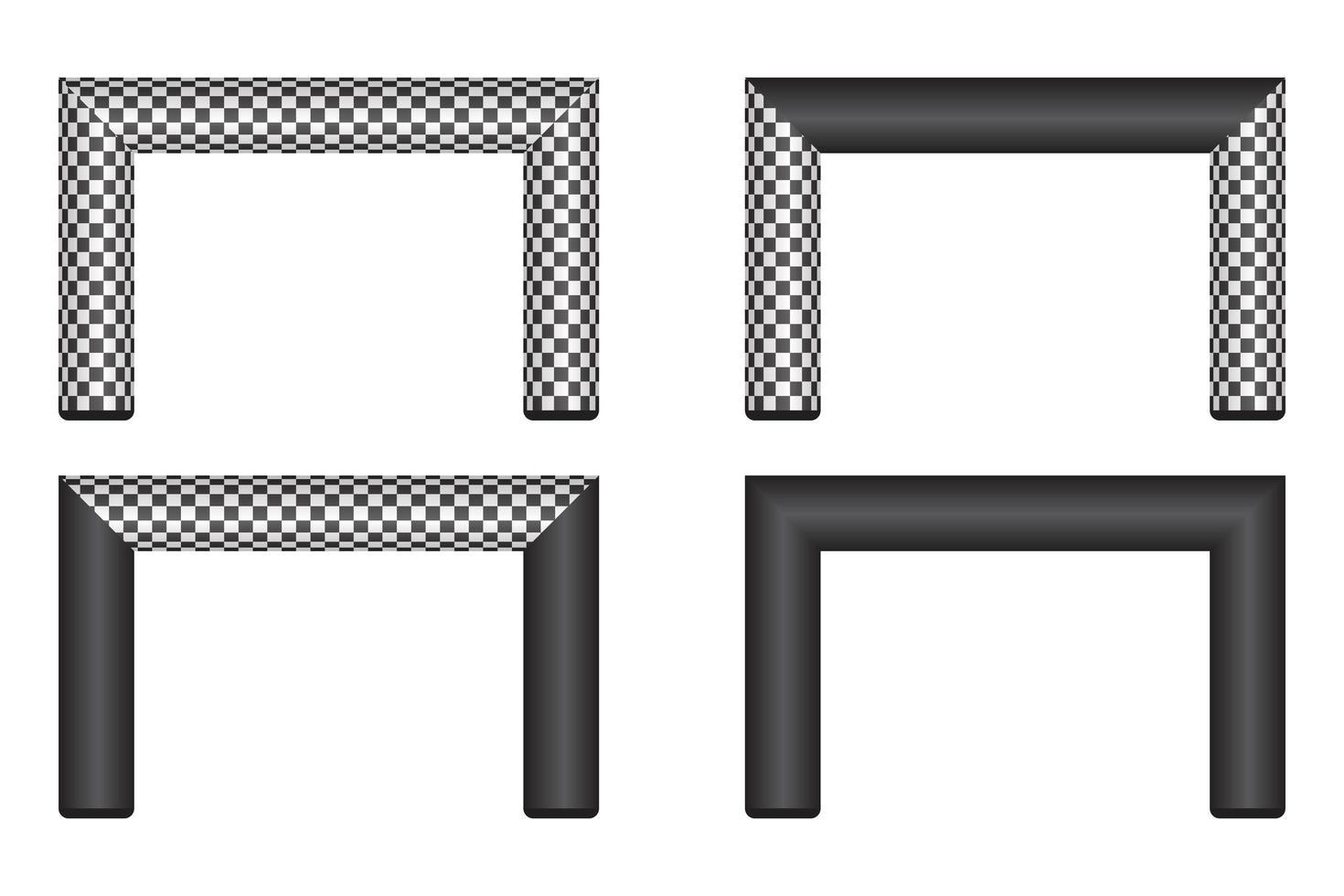 linha de chegada inflável com ângulo de 90 graus vetor