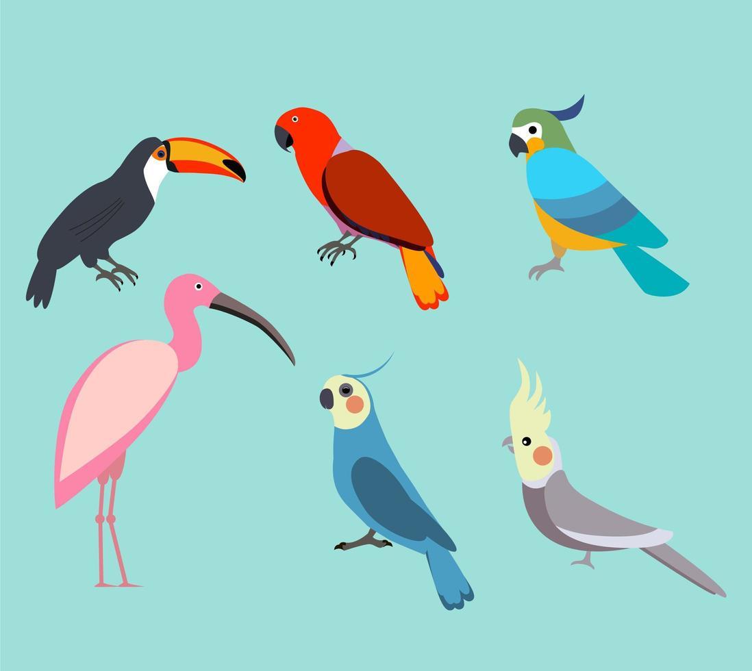 Cute birds on blue background vector