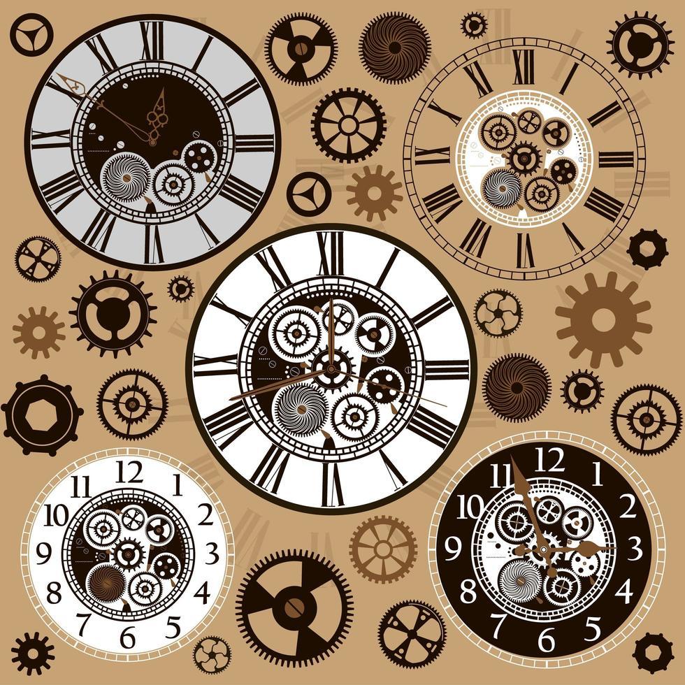 conjunto de faces e peças de relógio vetor