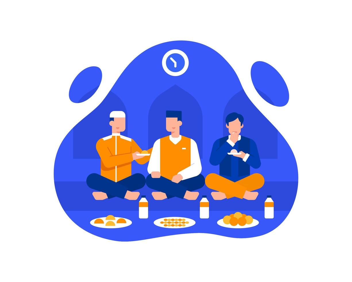 Muslim Men Eat Iftar At The Mosque Illustration vector