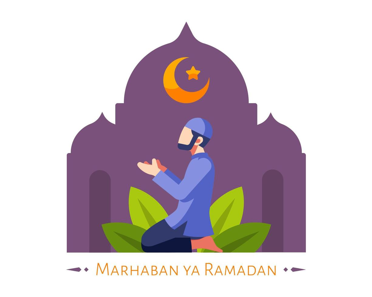 Fondo de Ramadán con musulmanes masculinos rezando en la mezquita vector