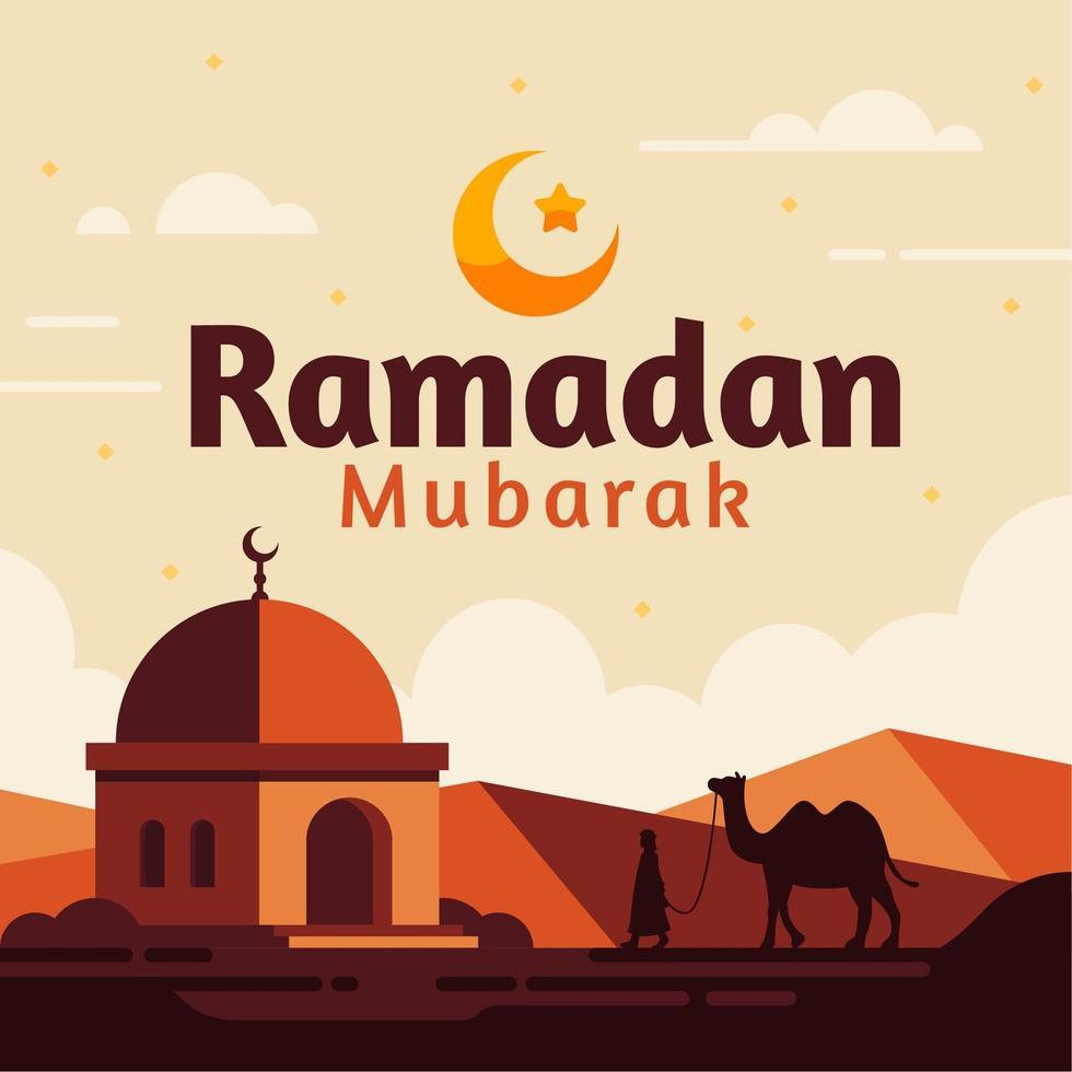 fundo de ramadan mubarak com camelo e deserto vetor