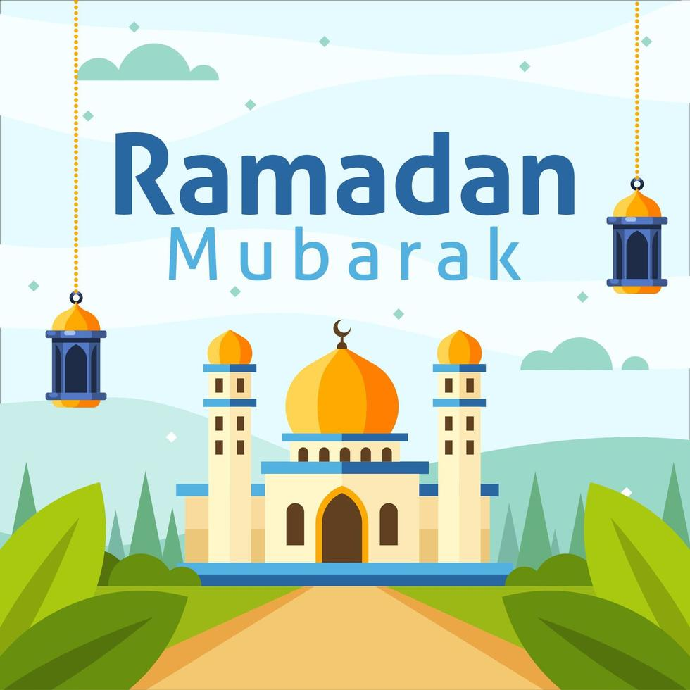 Ramadan Background with Flat Style Mosque vector