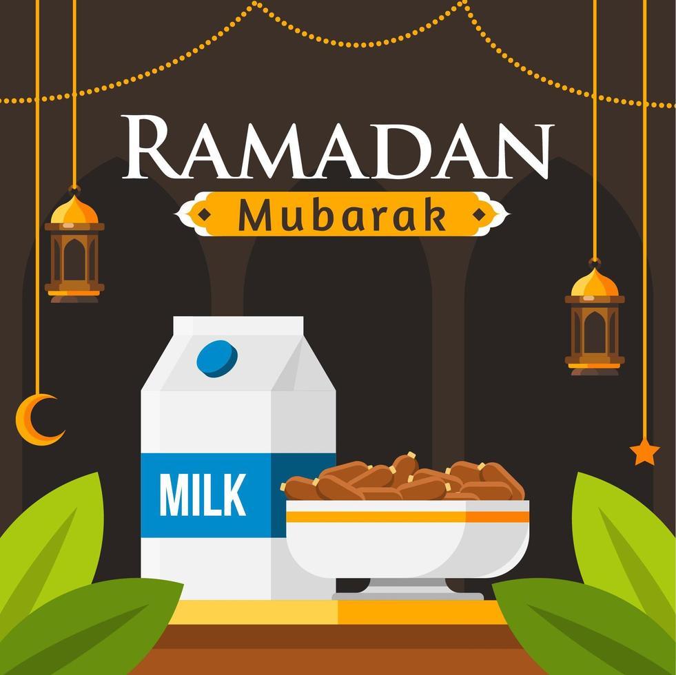 fundo de ramadan mubarak com leite e datas de design vetor