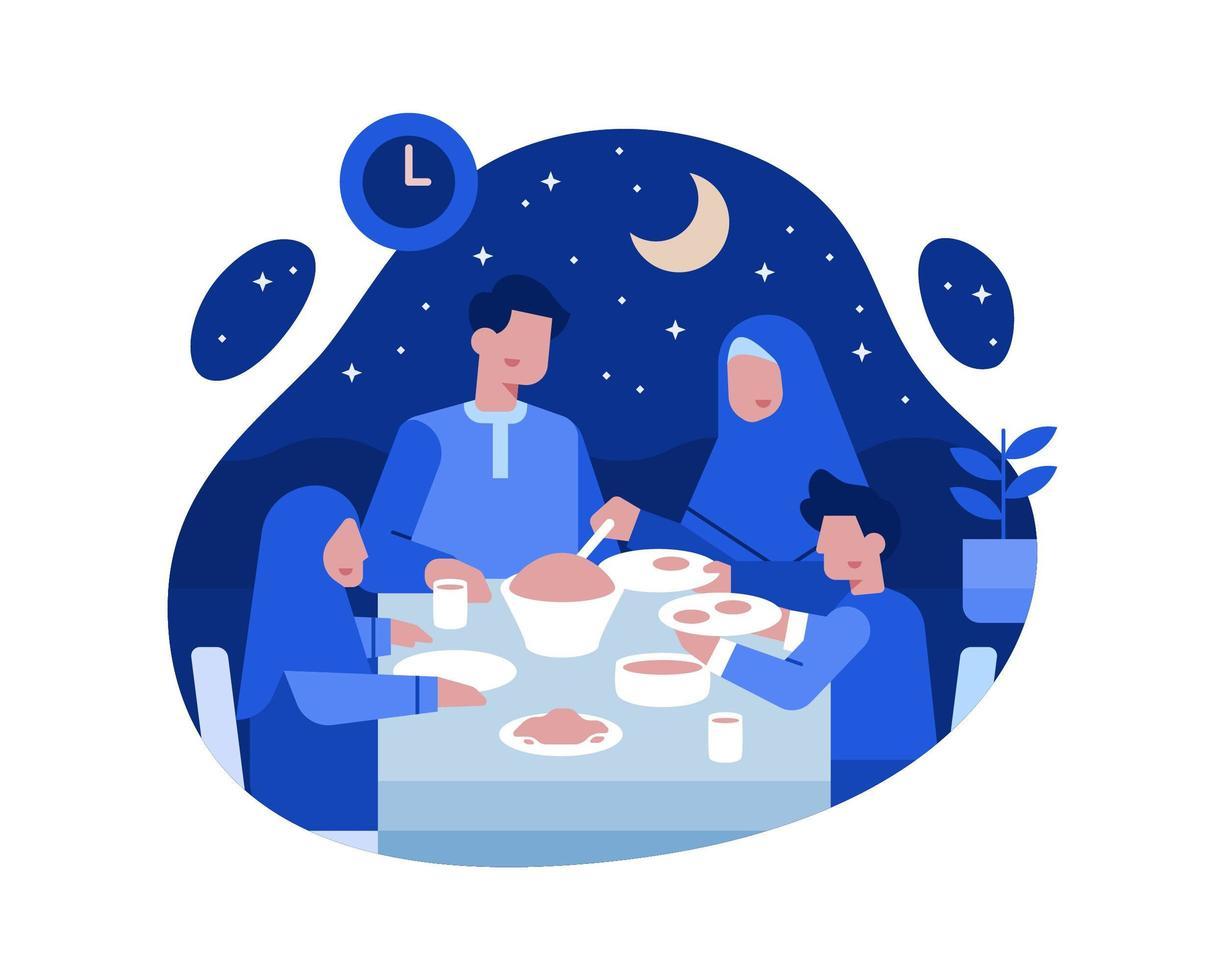 famílias muçulmanas jantam juntos na mesa de jantar vetor