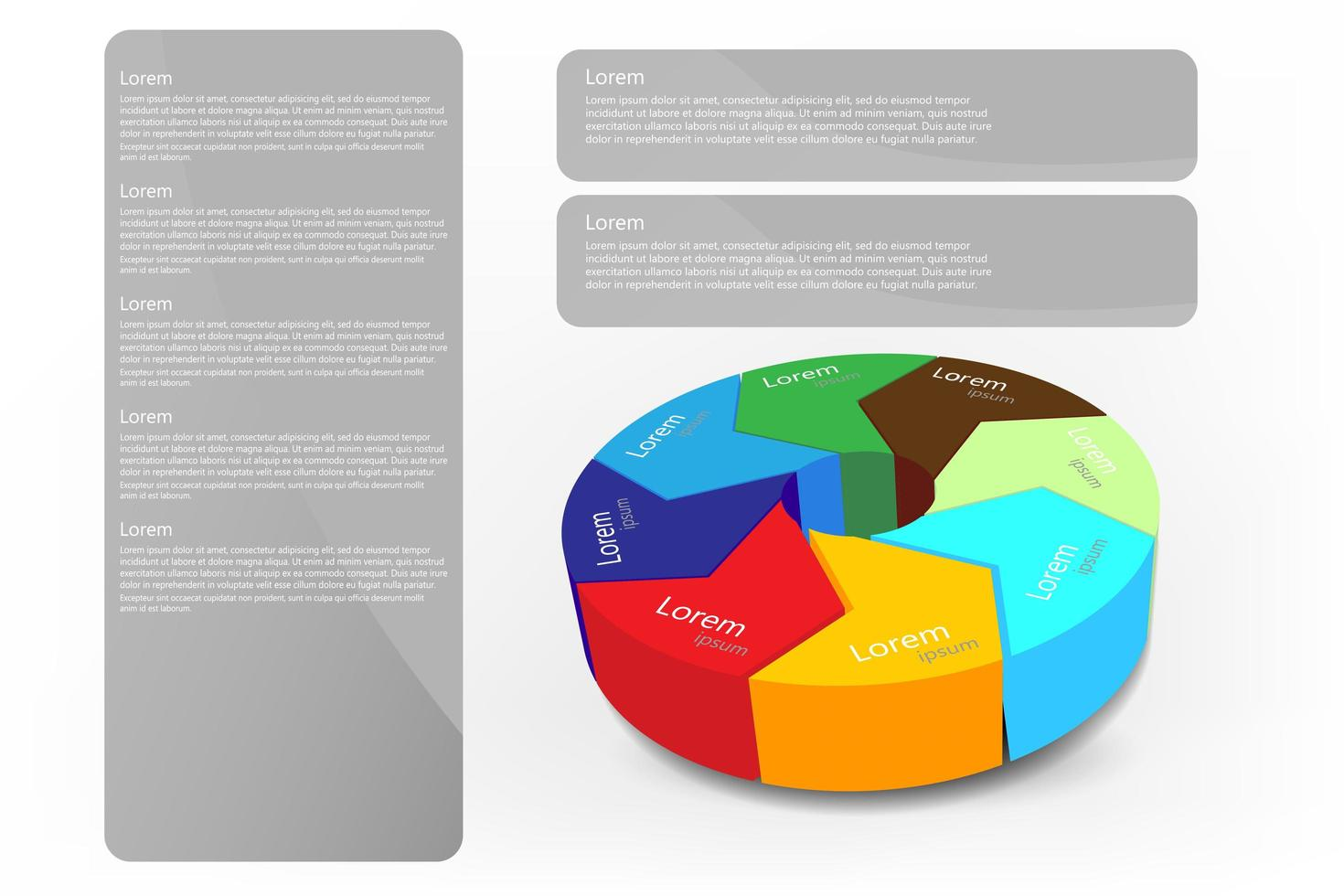 3D circle infographic and text frames vector