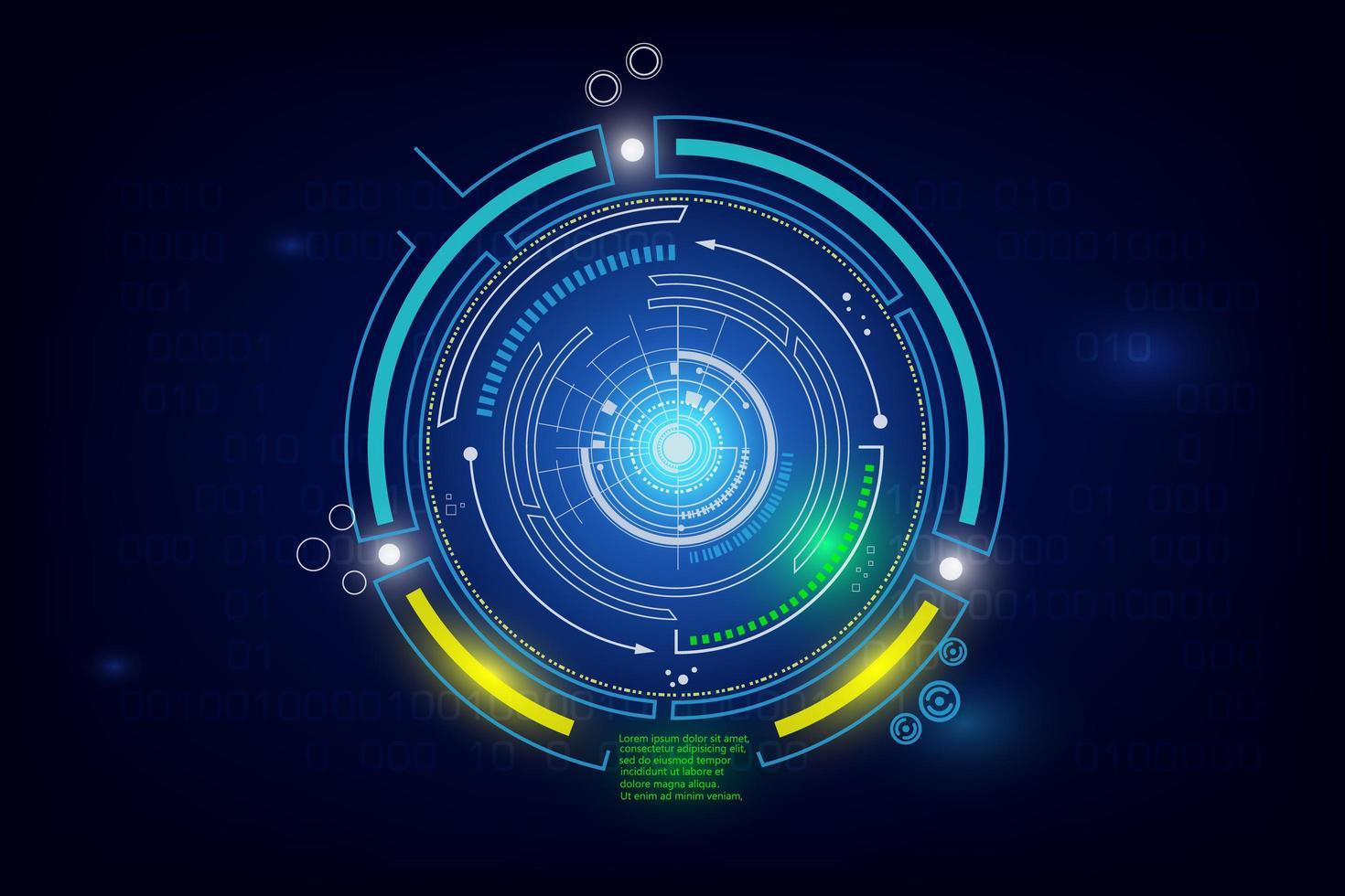 diseño de elemento de ciencia ficción circular brillante vector