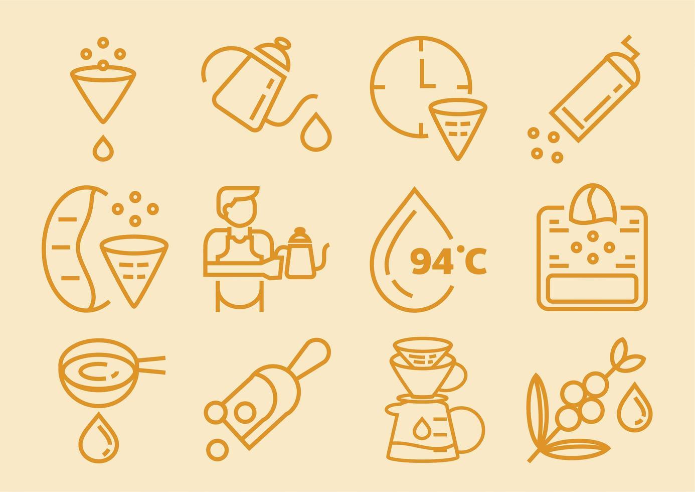 gotejamento café conjunto de ícones com papel de filtro vetor