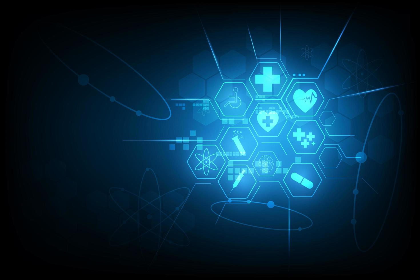 Glowing blue hexagon medical icon design vector