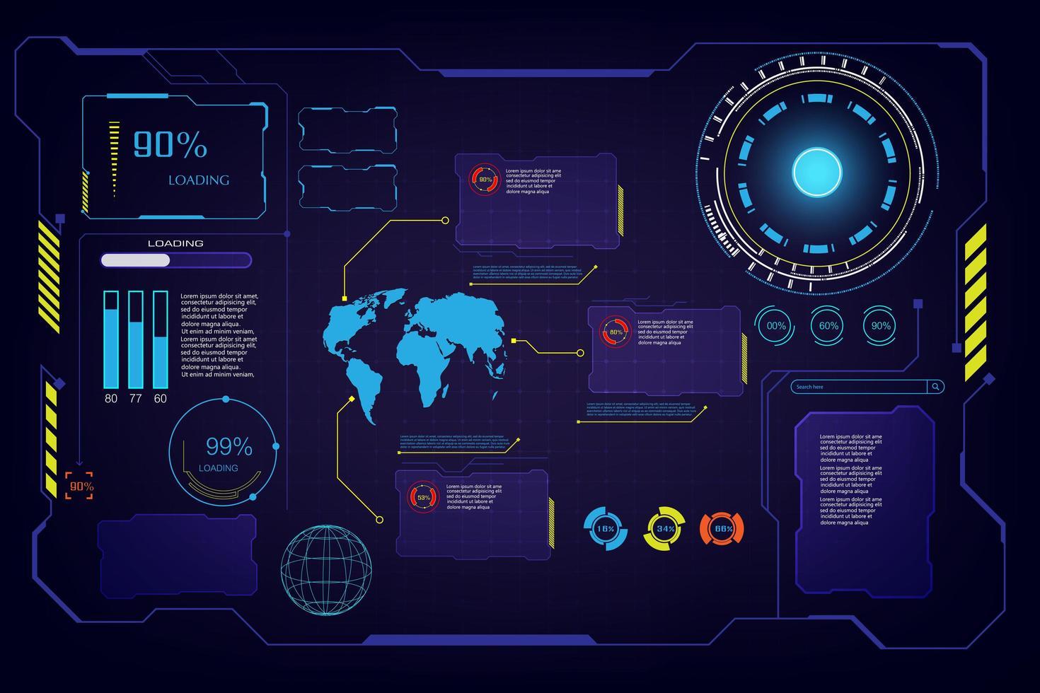 conjunto de elementos de interfaz futurista gui vector