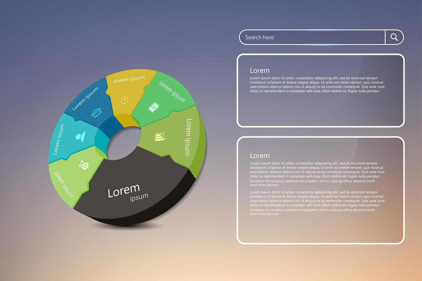 Circular business infographic and UI elements vector