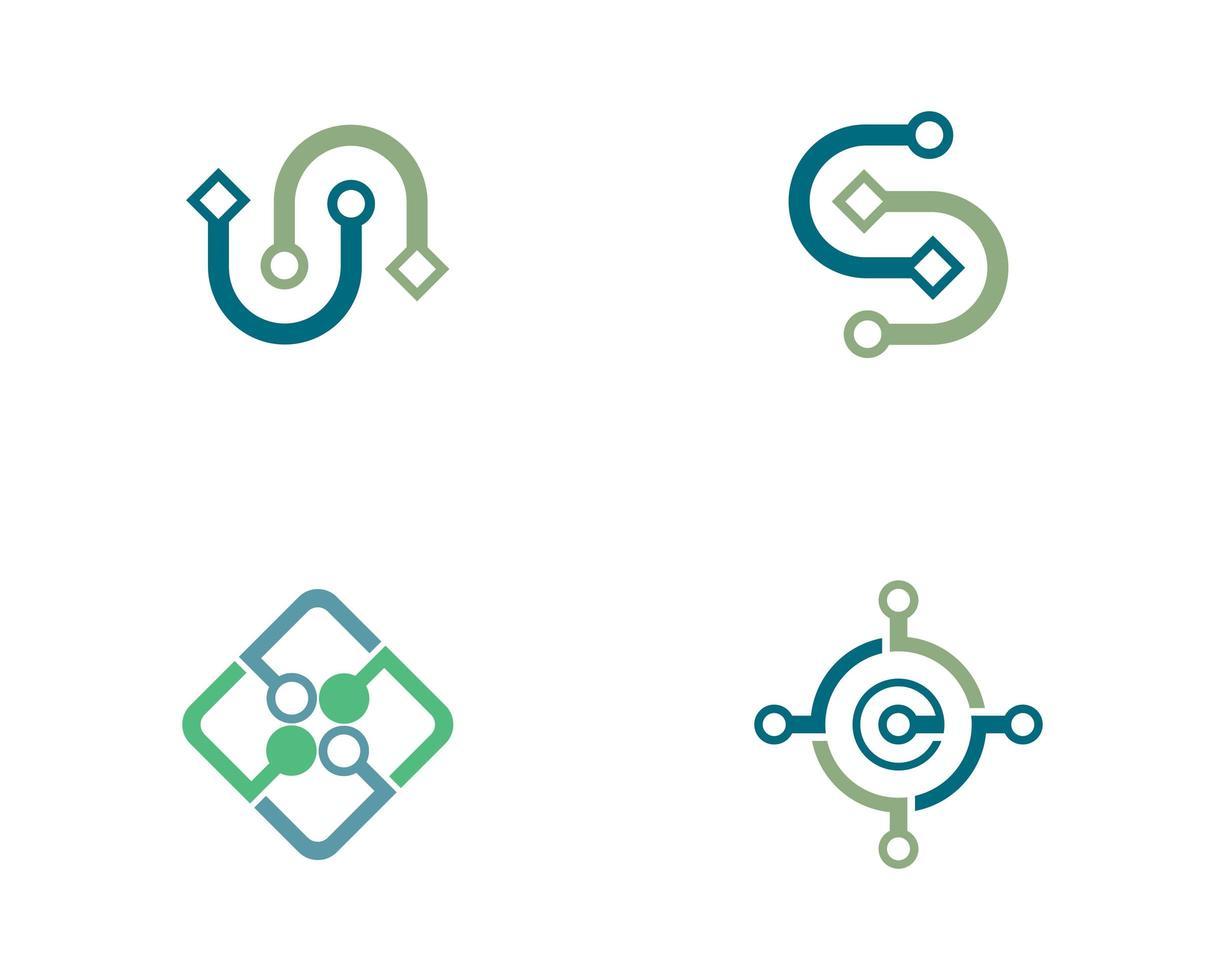 Wire cable logo icon set vector