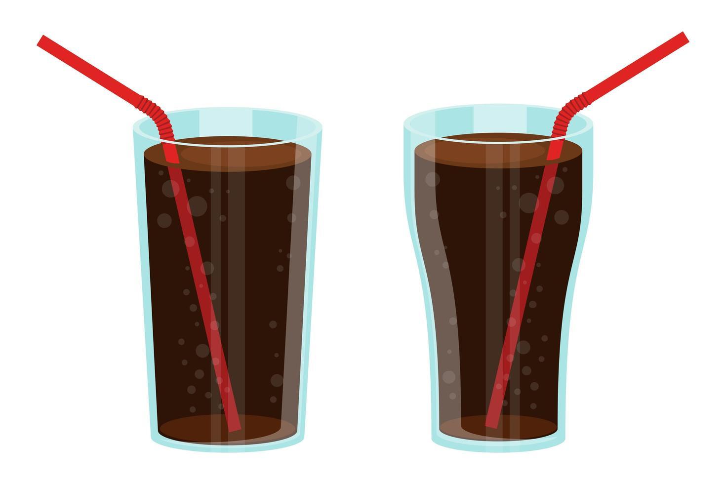 Glass of soda set vector