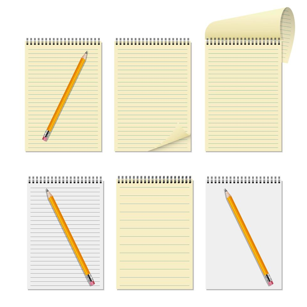 Realistic notebook and pencil set vector