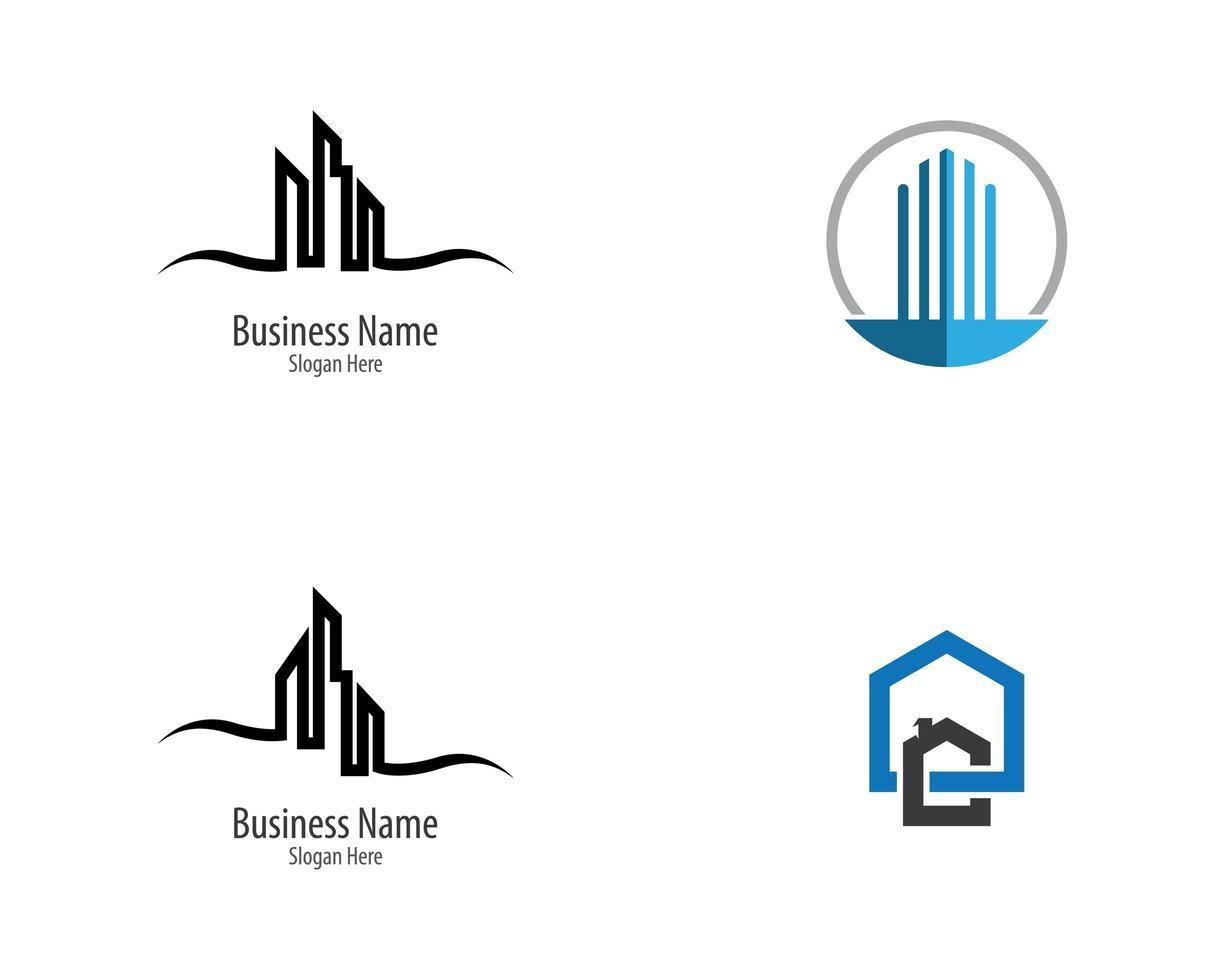 conjunto simples de logotipo imobiliário vetor