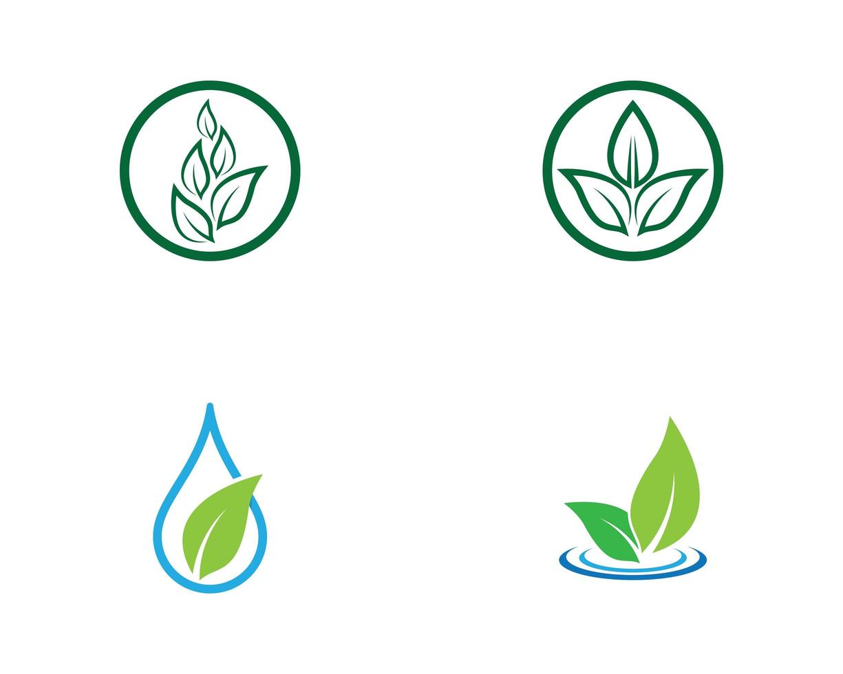 conjunto de logotipo de folha verde de ecologia vetor