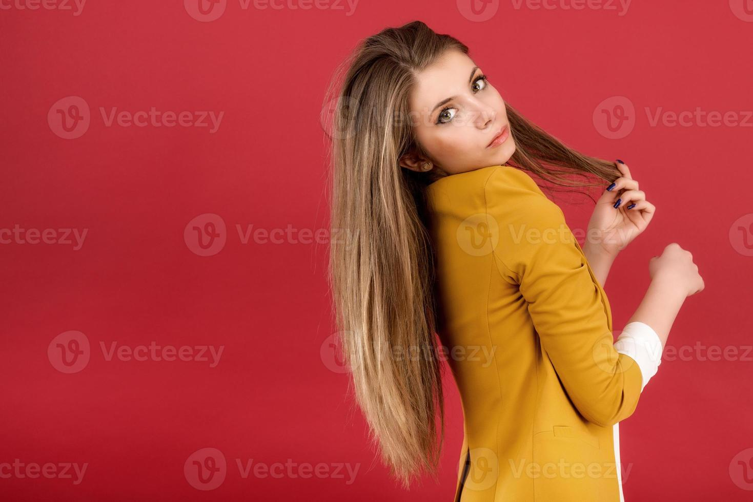 portrait of the beautiful young woman with beauty long straight photo