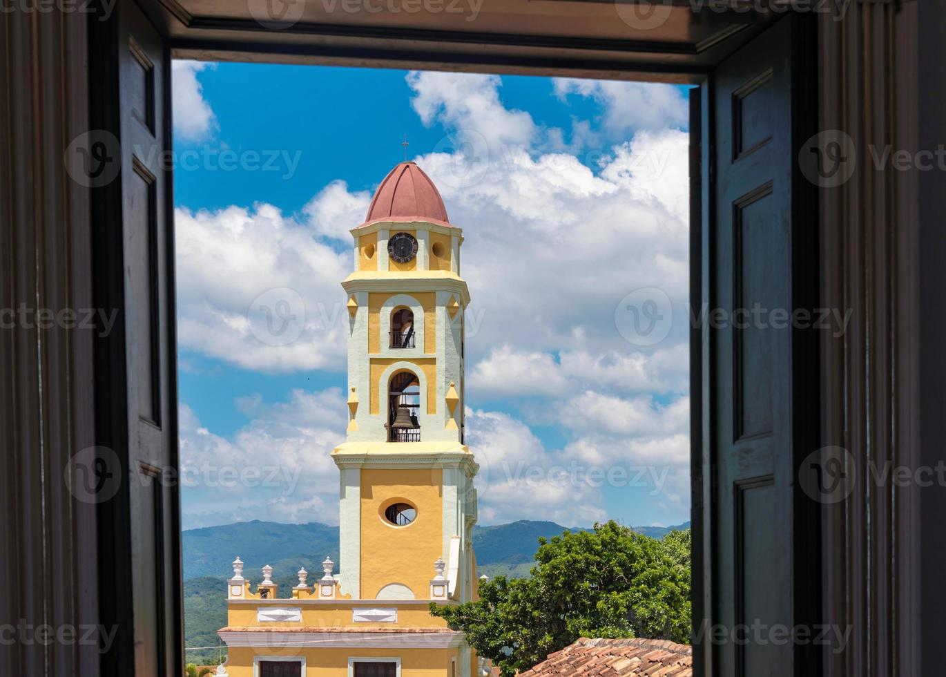 Cuba Tourism: Trinidad Monastery in Cloudy Blue Sky photo