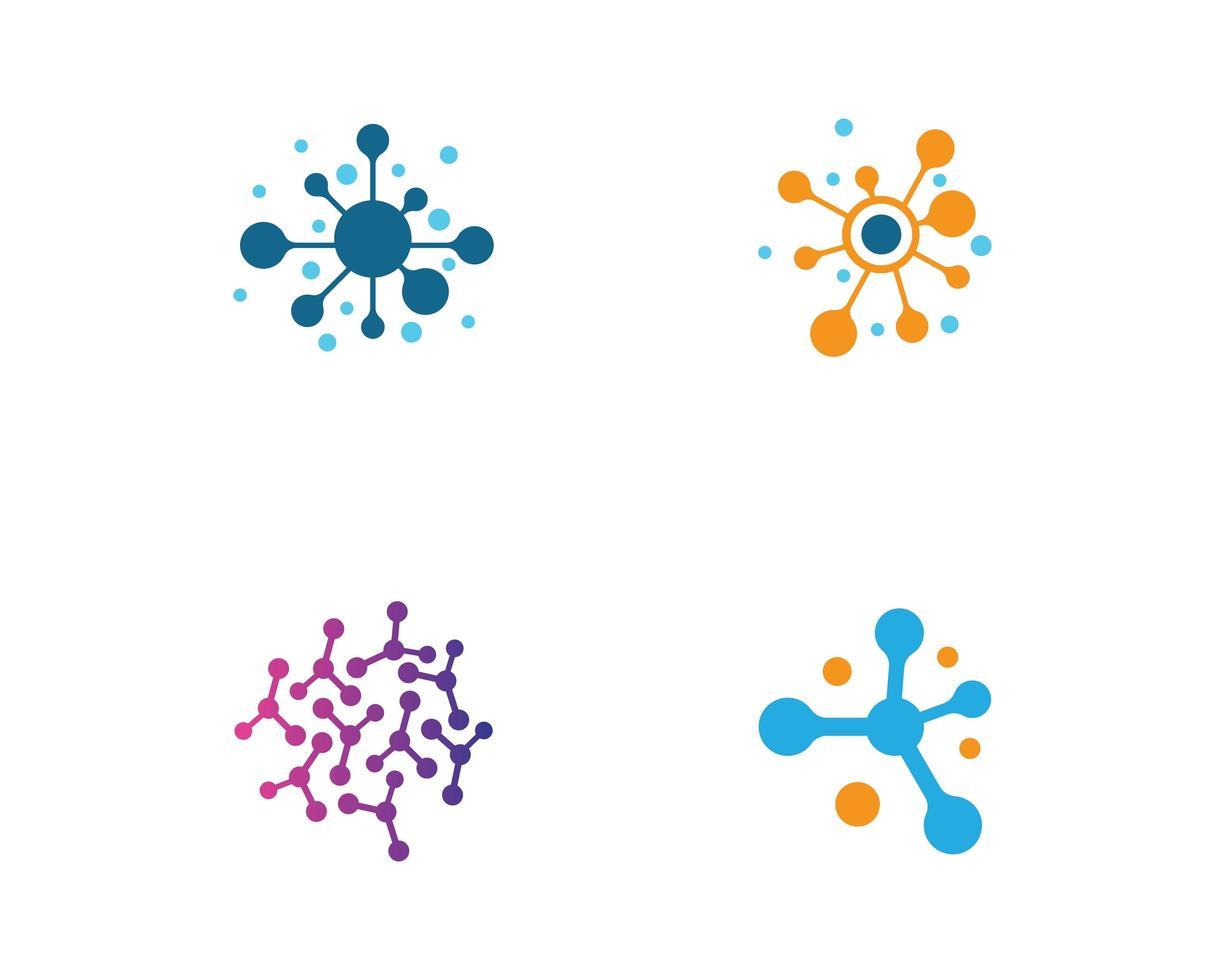 conjunto de logotipo de molécula colorida vetor