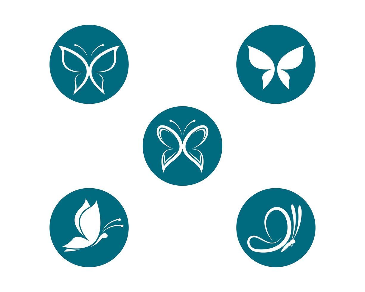 conjunto de modelo de logotipo de borboleta vetor
