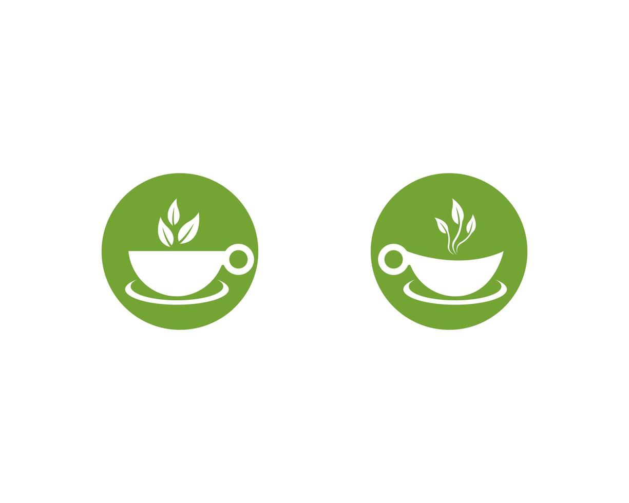 Green tea logo set  vector