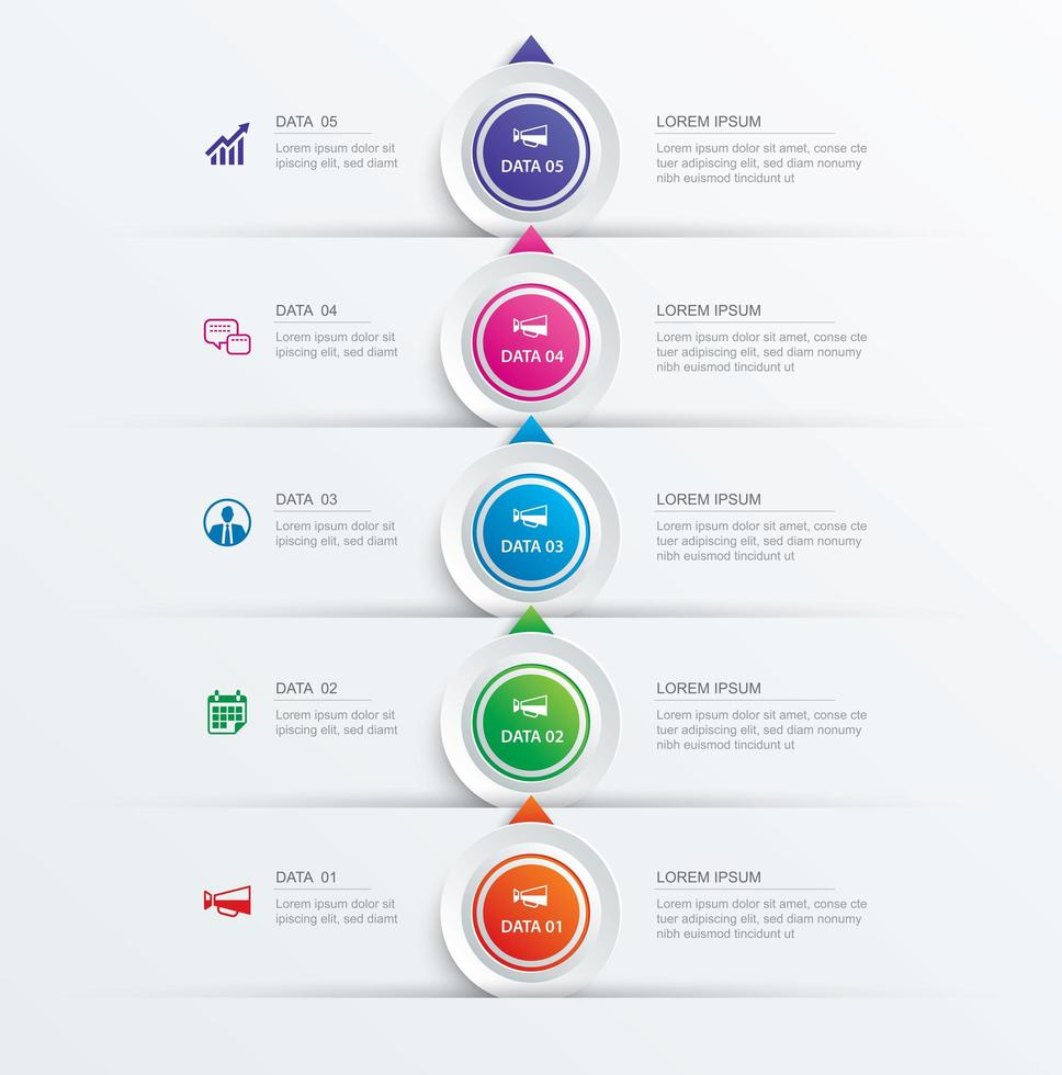 5 circle step infographic and timeline template vector