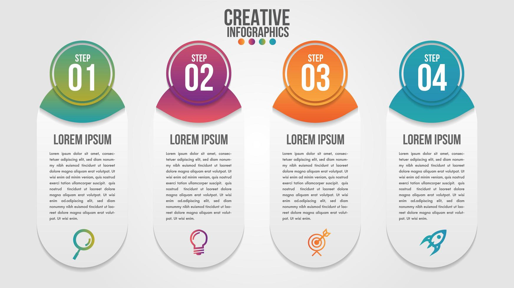 Numbered four step infographic modern timeline element sert  vector