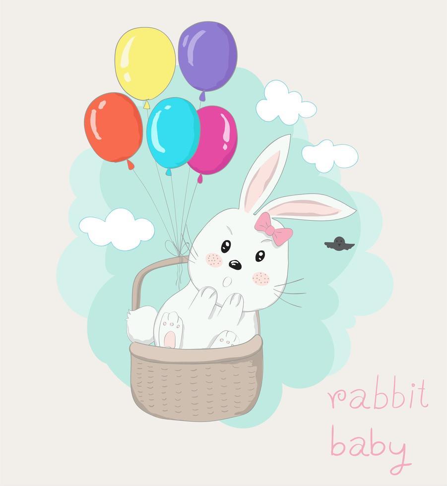 coelho na cesta com balões coloridos flutuando no céu vetor