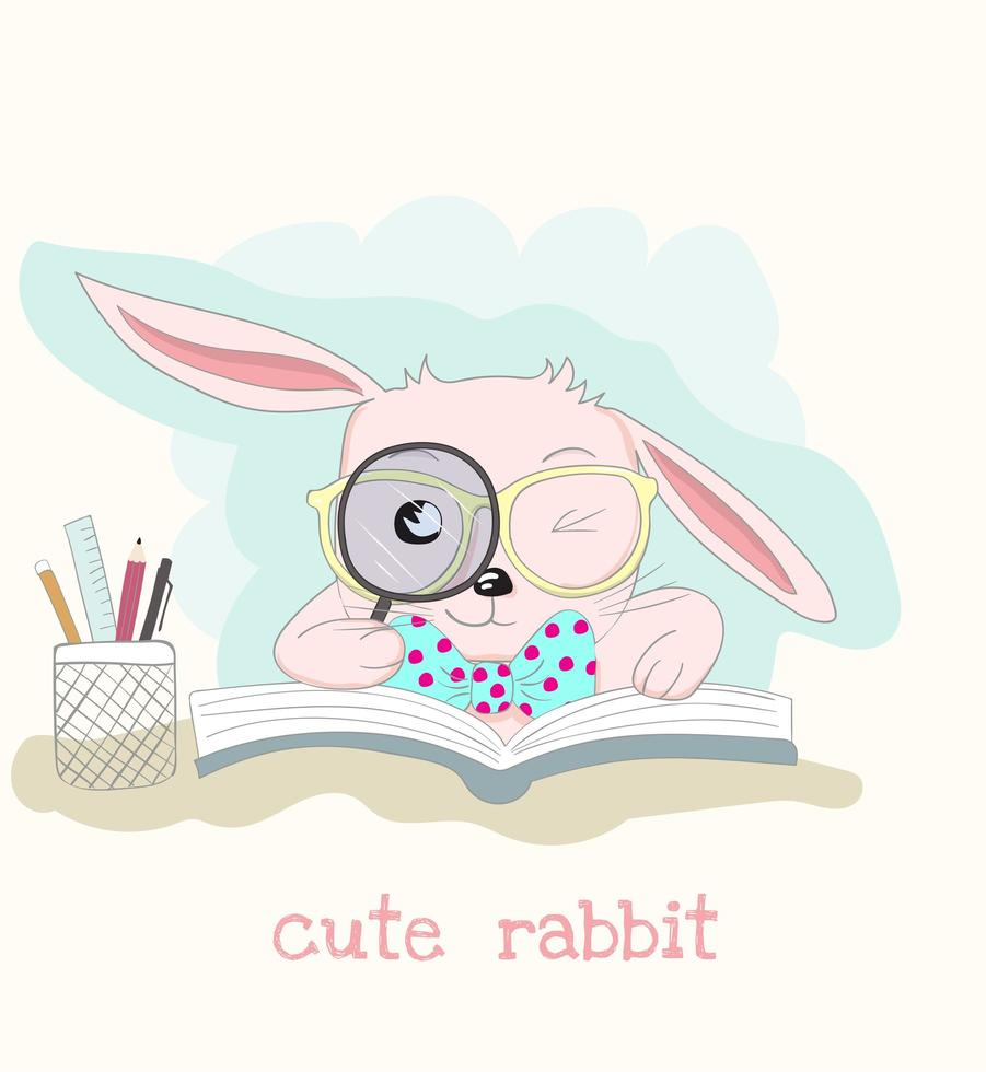 Rabbit Reading Book with Magnifying Glass vector