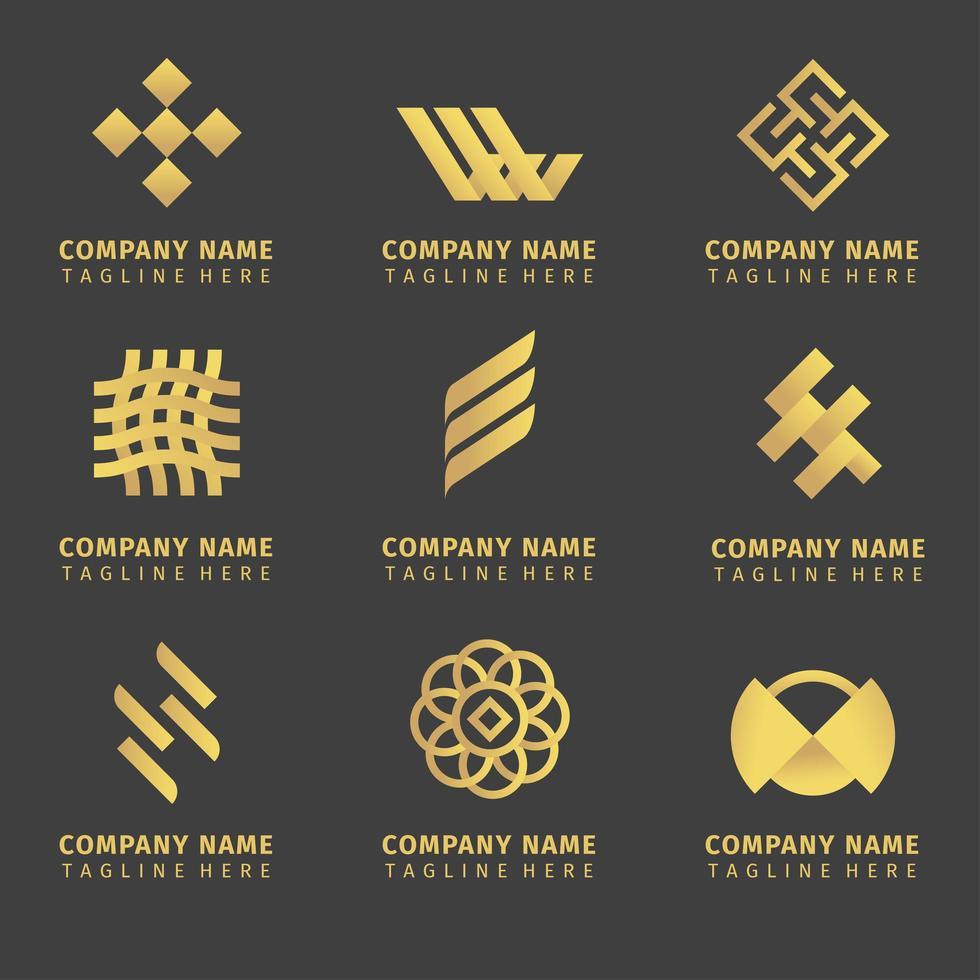 conjunto de design de logotipo de empresa dourada vetor
