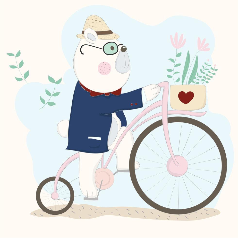 urso de terno andando de bicicleta vetor