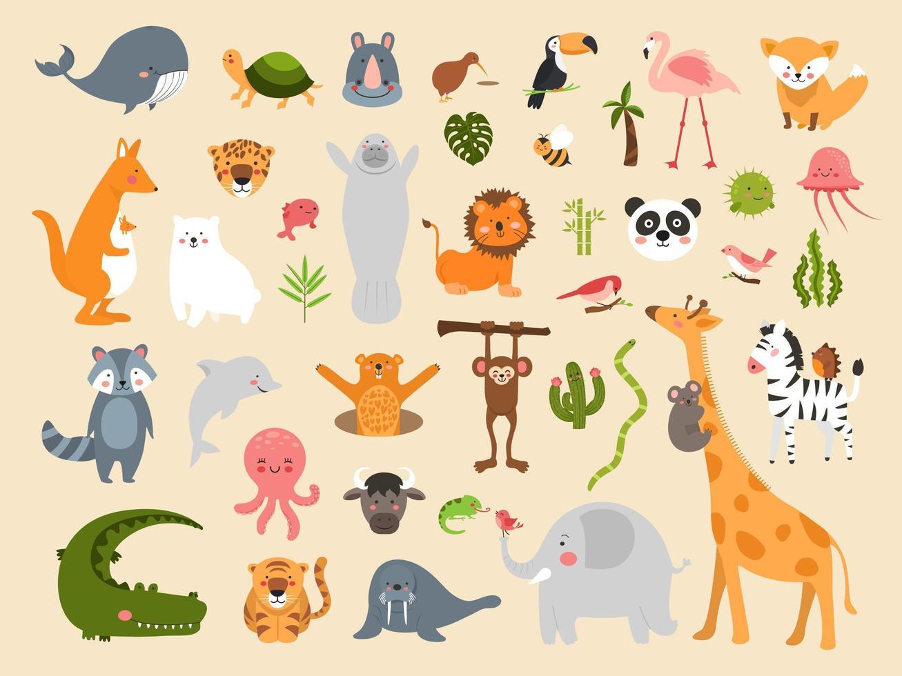 Wildlife animal cartoons vector
