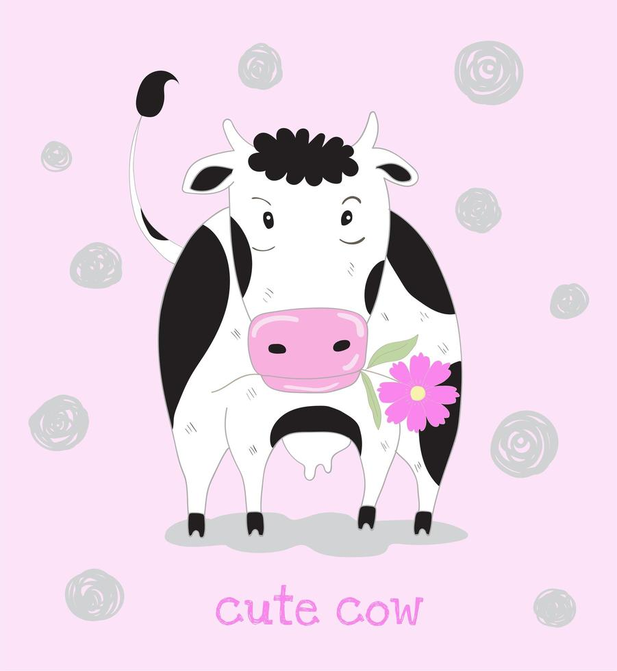 Cow Holding Flower in Mouth vector