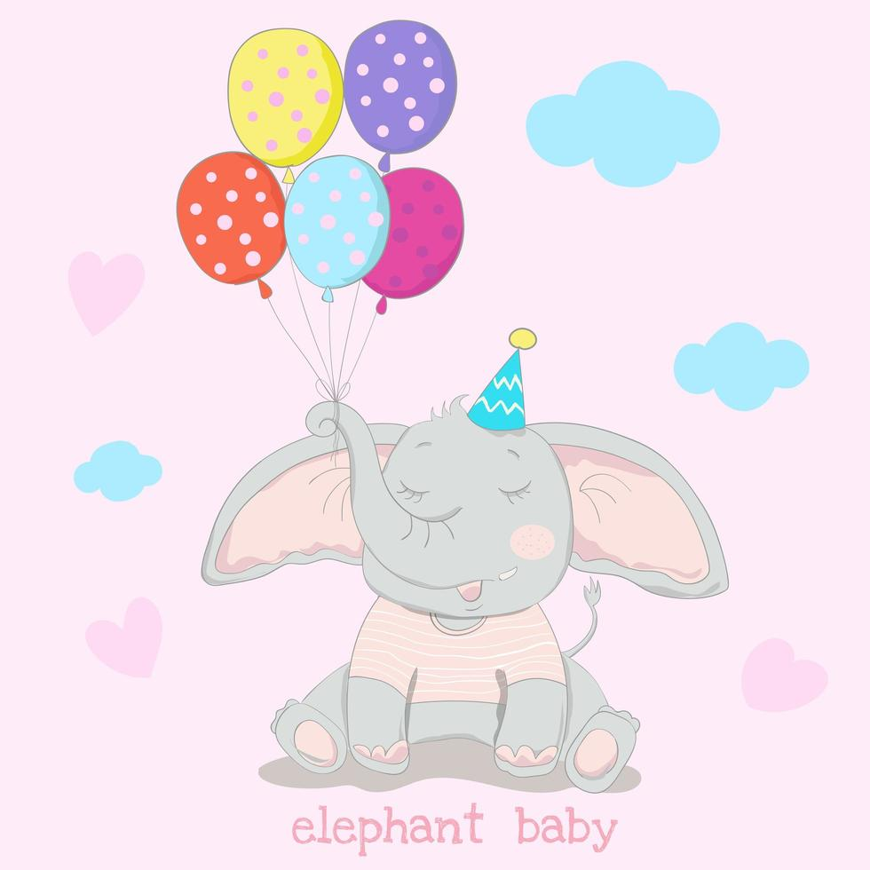 elefante segurando balões coloridos vetor