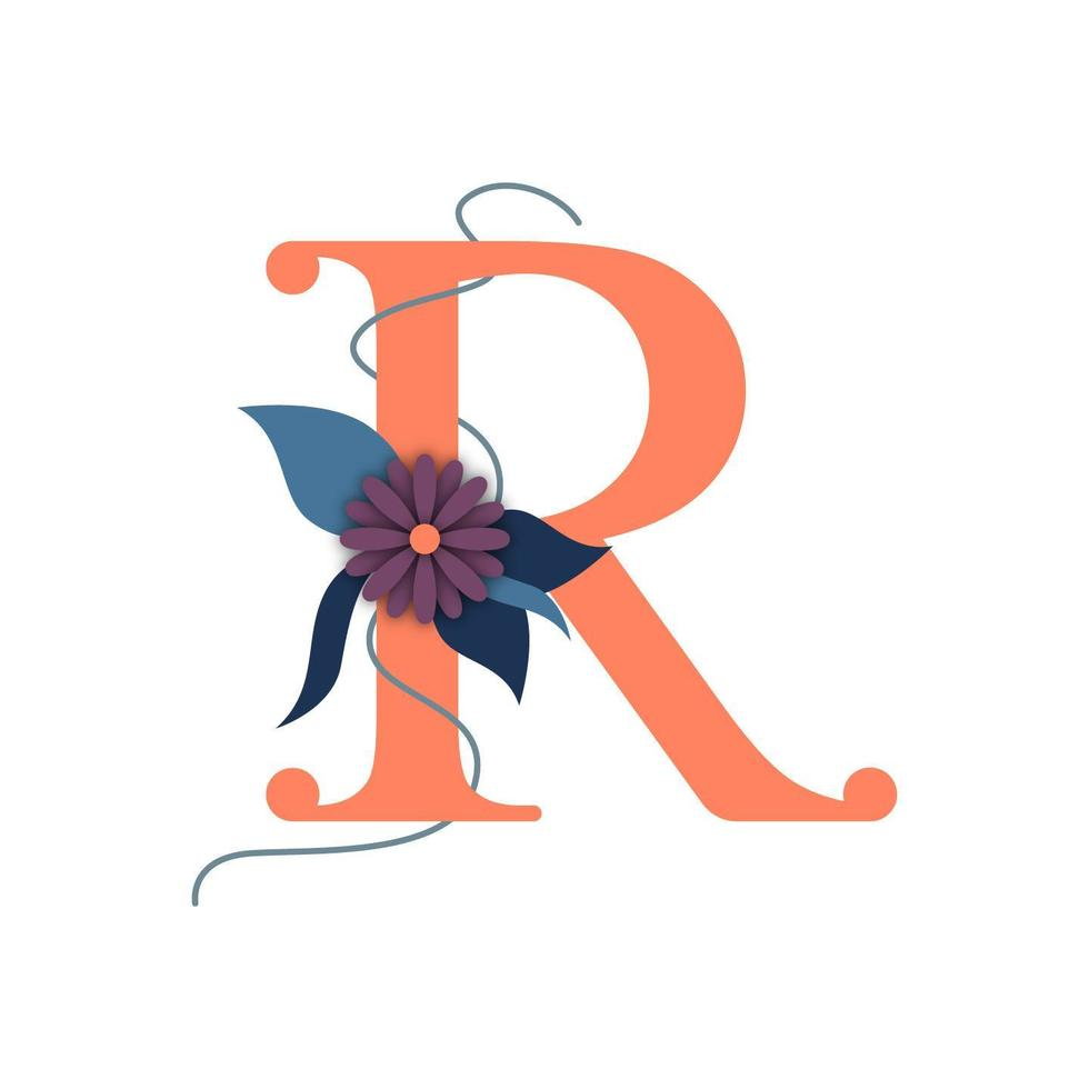 Letter R with blossoms vector
