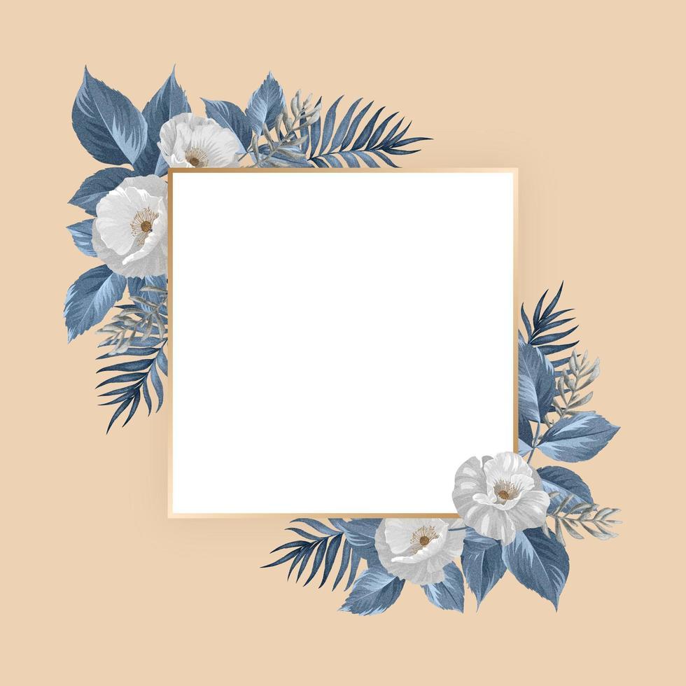 Floral frame design vector