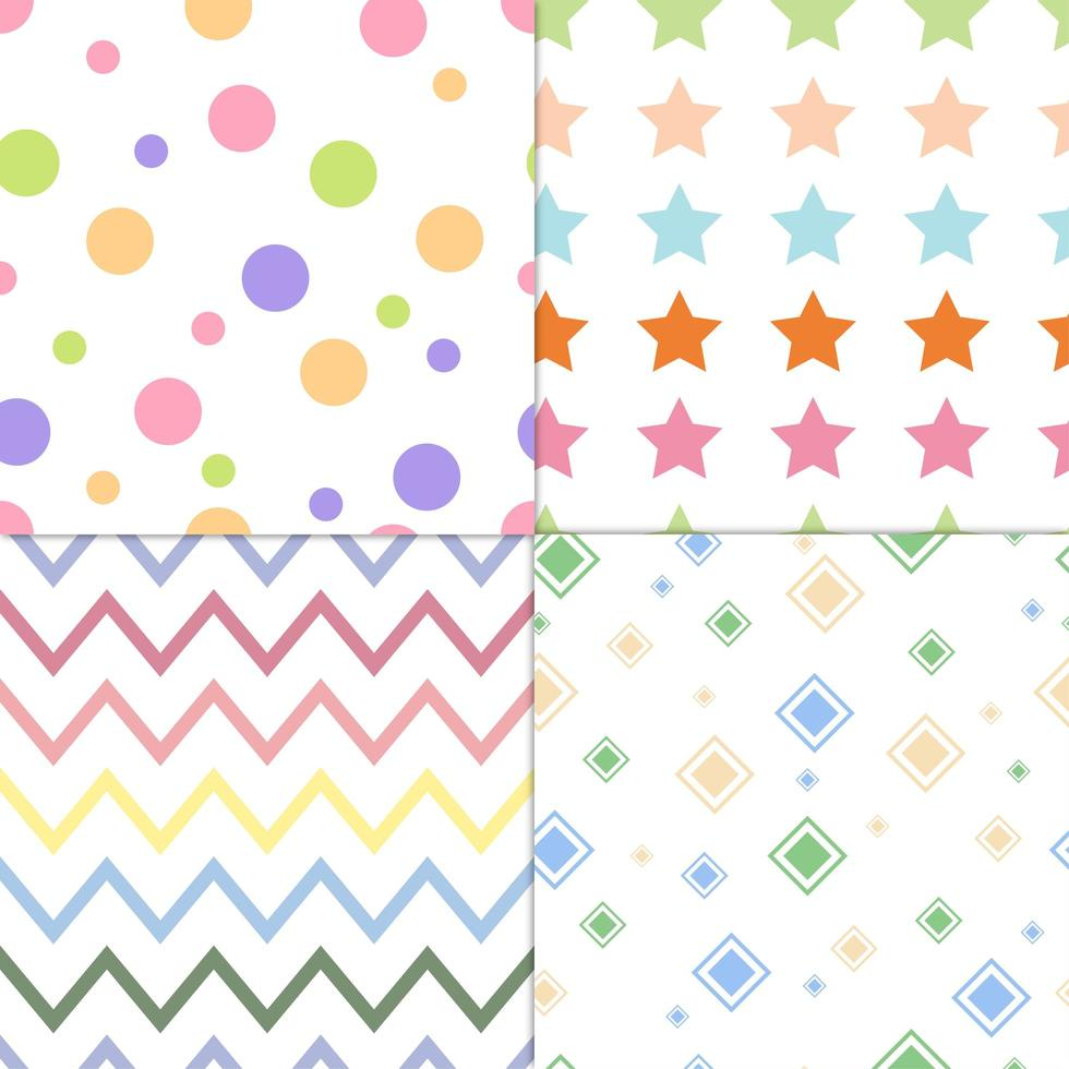 Collection of colorful seamless design patterns  vector