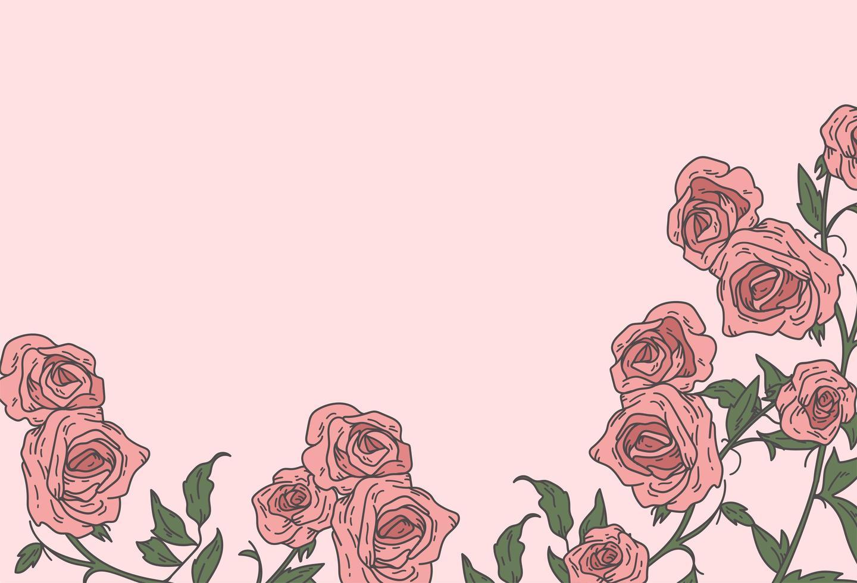 mão desenhada rosas rosa fundo vetor