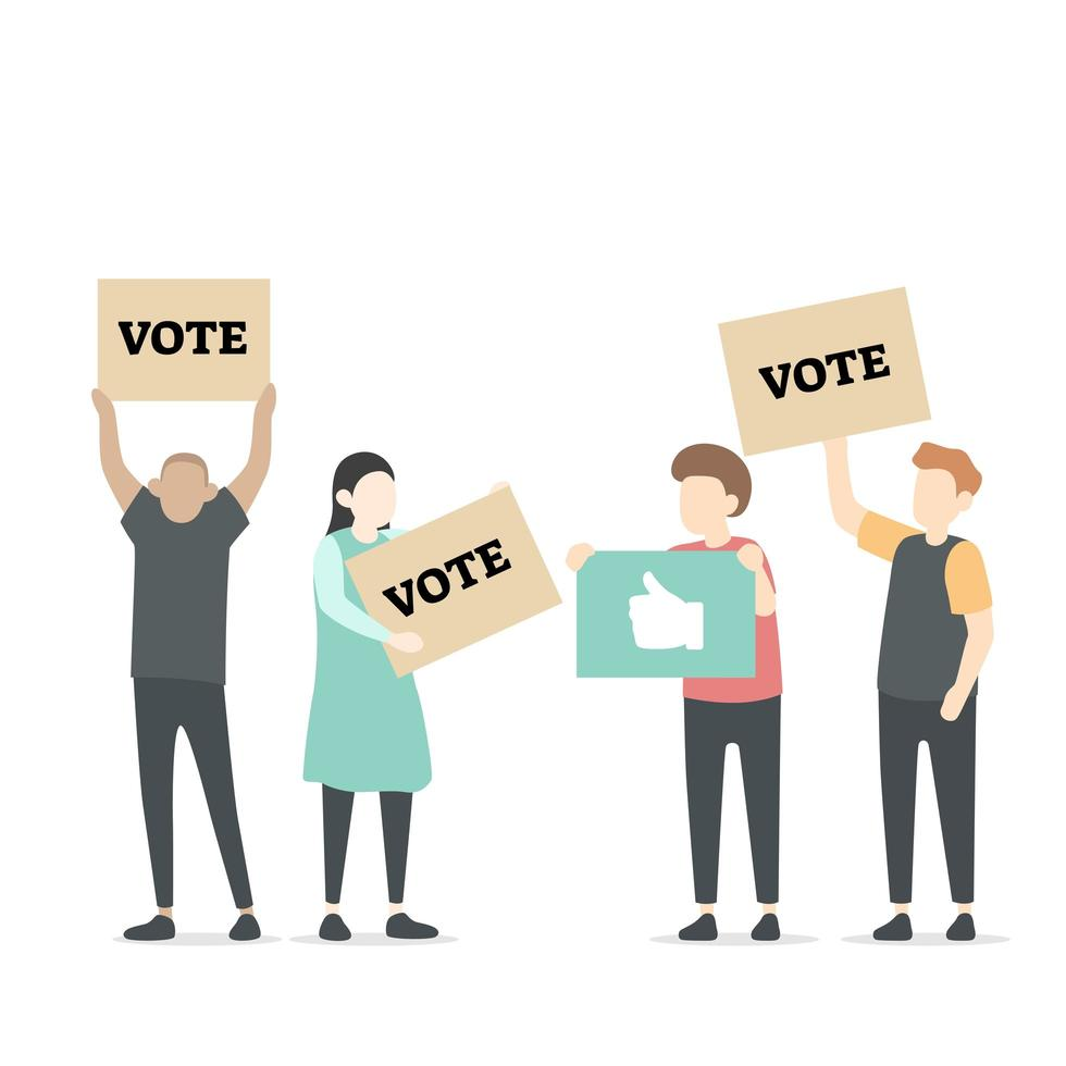 Character illustration of people with vote icons vector