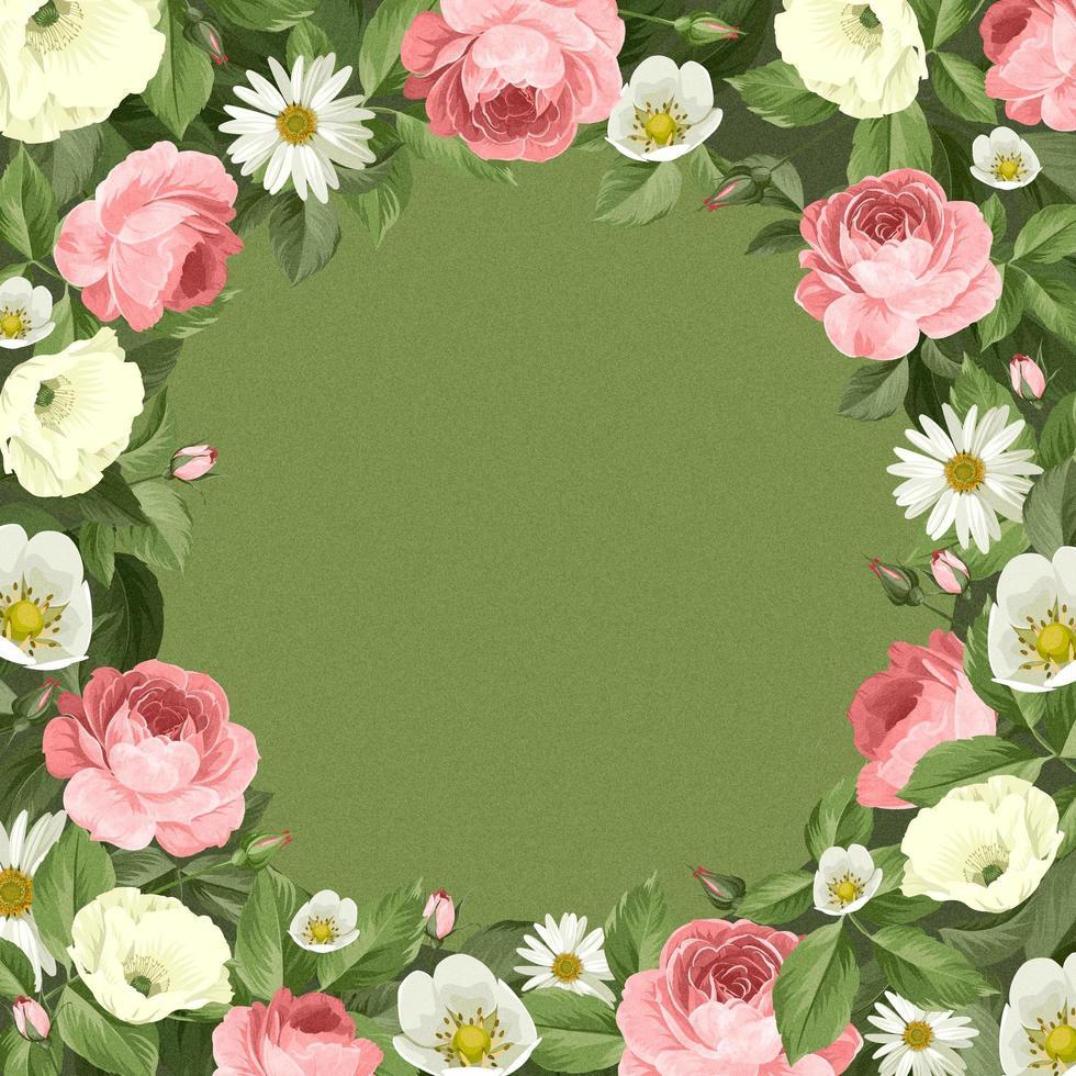 Wreath of blooming wildflowers vector