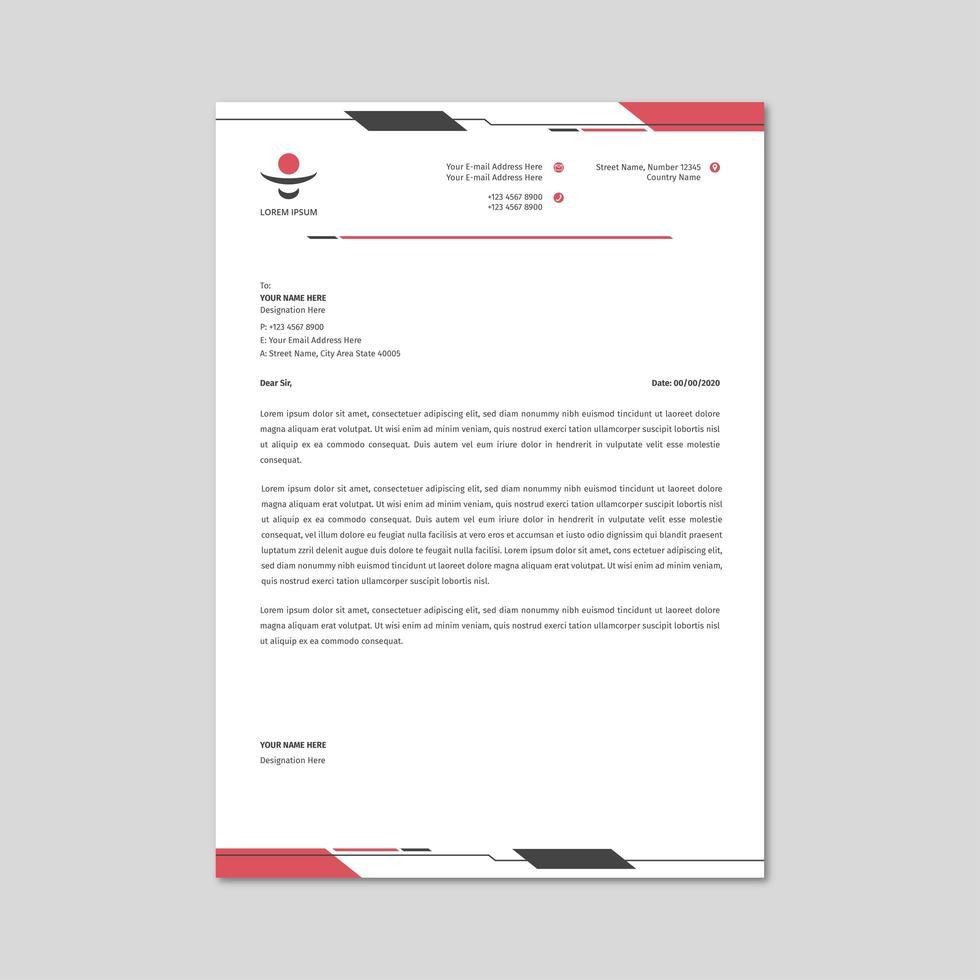 amostra de papel timbrado da empresa vetor