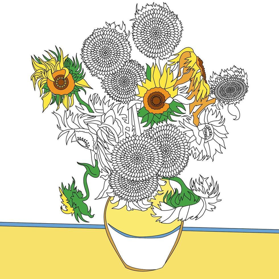 Sunflowers 1889 by Vincent van Gogh adult coloring page vector