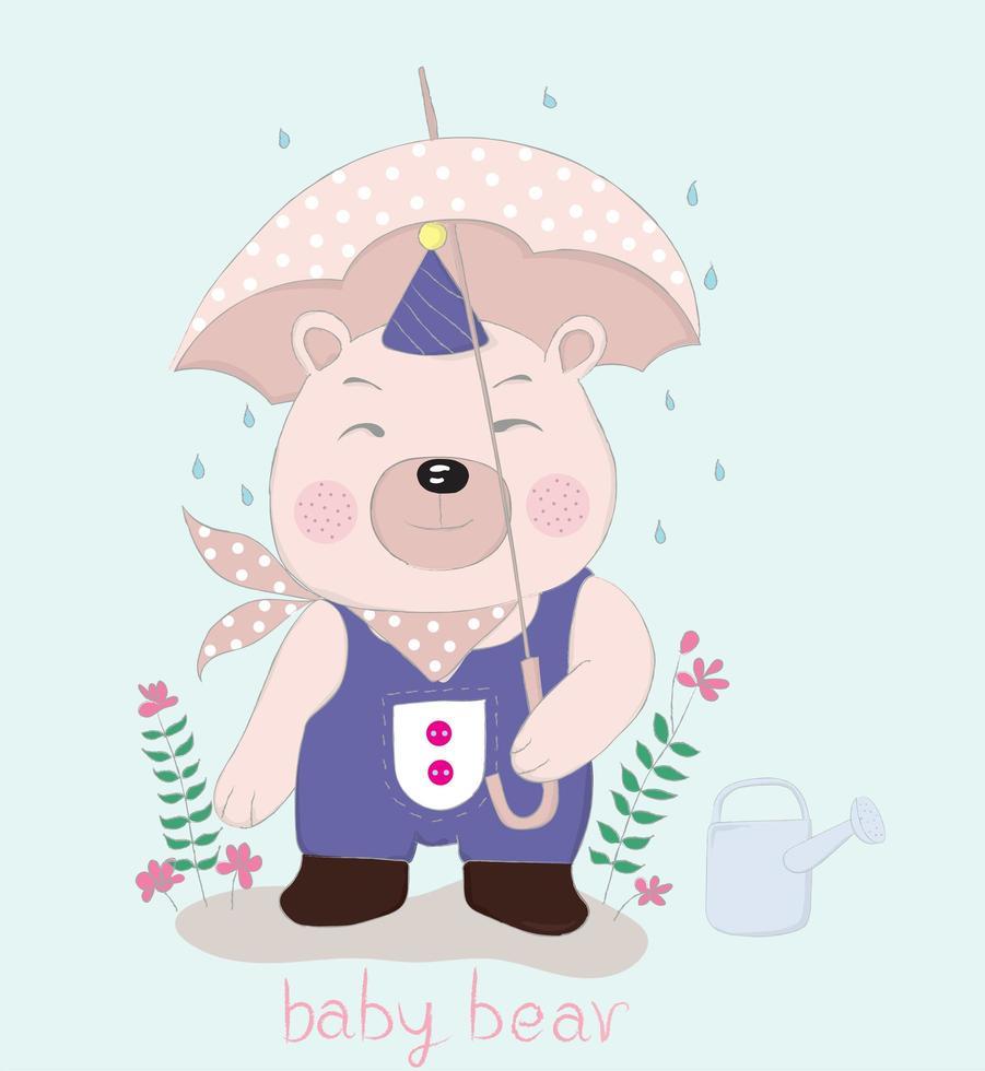 urso segurando guarda-chuva pontilhada rosa na chuva vetor