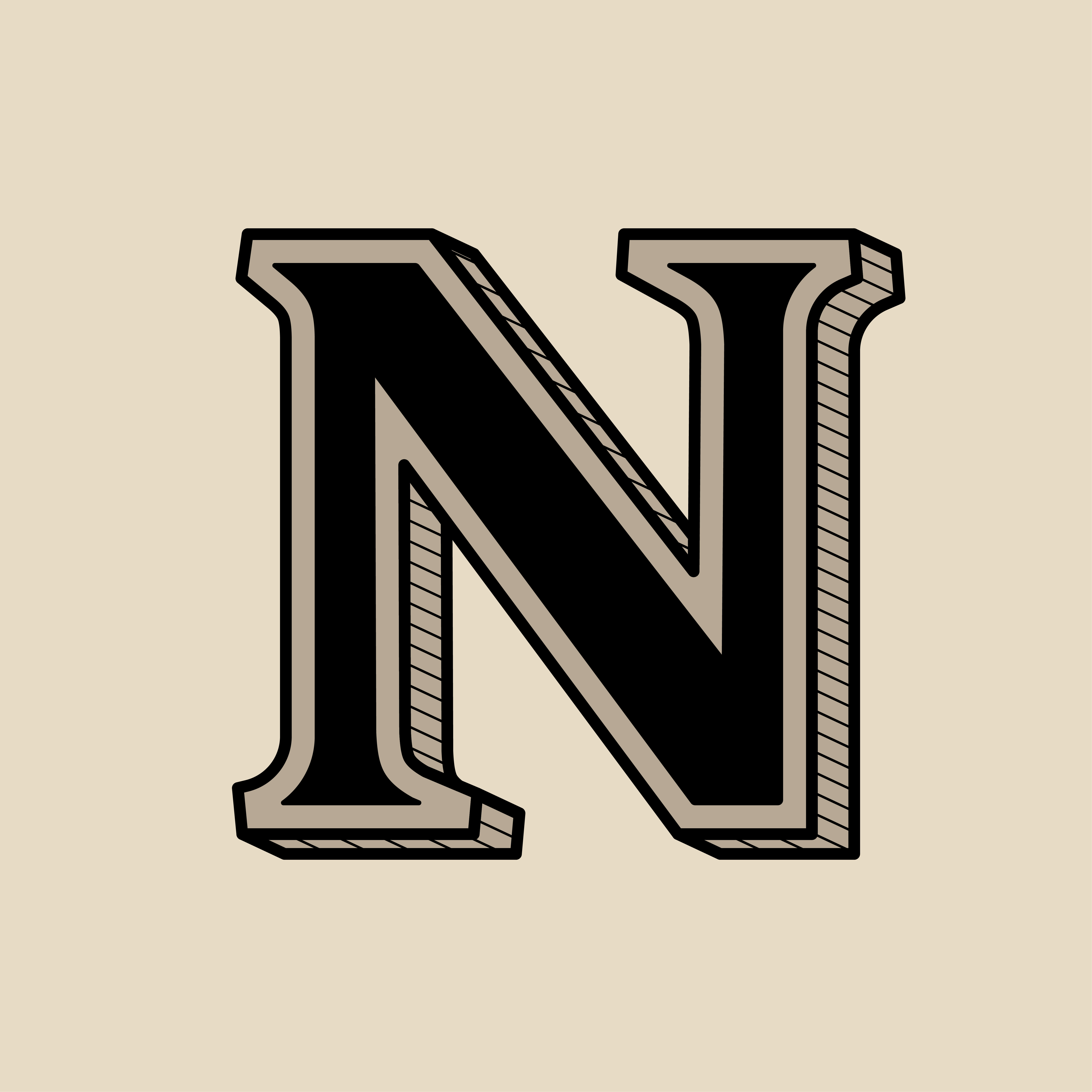Capital Letter N Vintage Typography Style Download Free