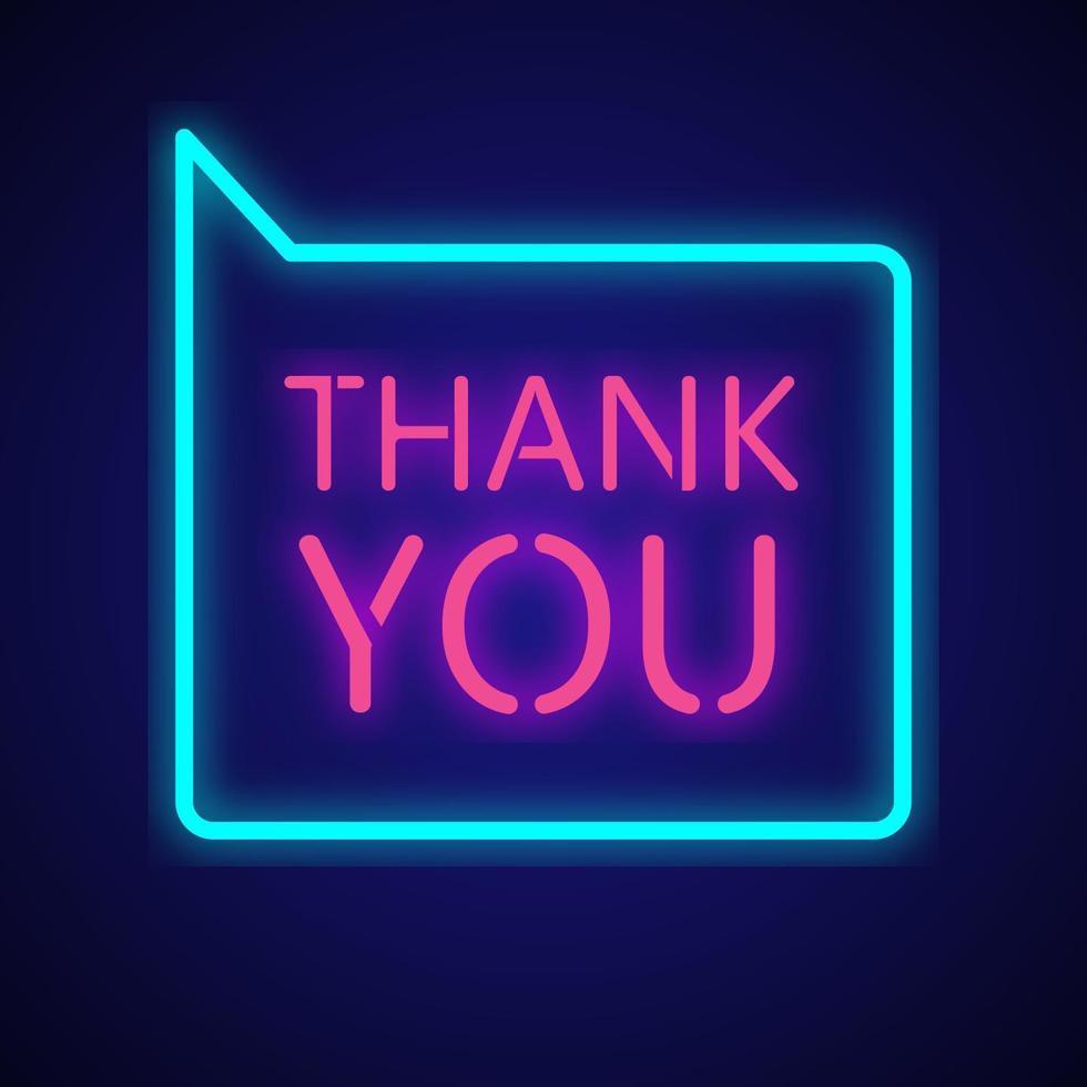 Thank you neon sign  vector