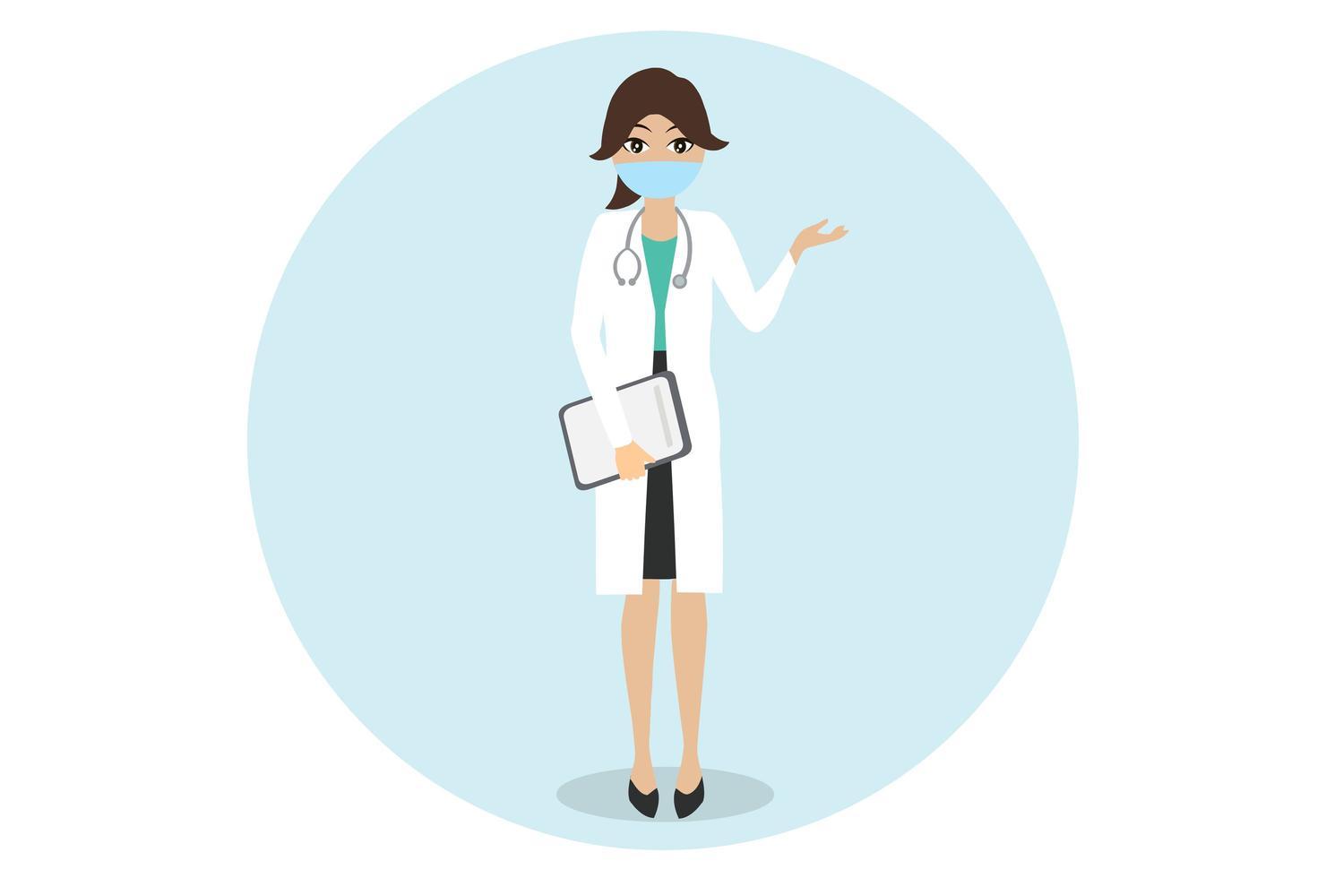 médico usando máscara para cronavírus vetor